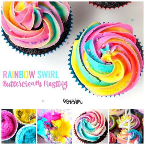 Rainbow Butter rainbow swirl buttercream frosting the bewitchin kitchen