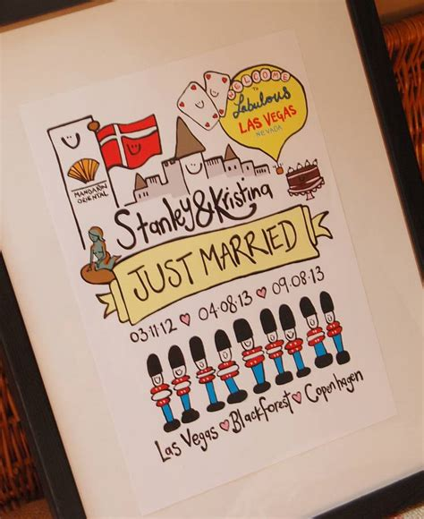 Wedding Illustration by Personalised Just Married Wedding Illustration By Peas