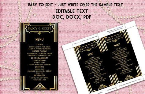 printable menu template art deco great gatsby inspired