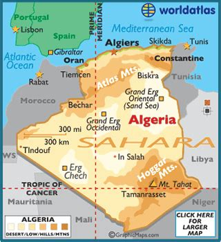 algeria map / geography of algeria / map of algeria
