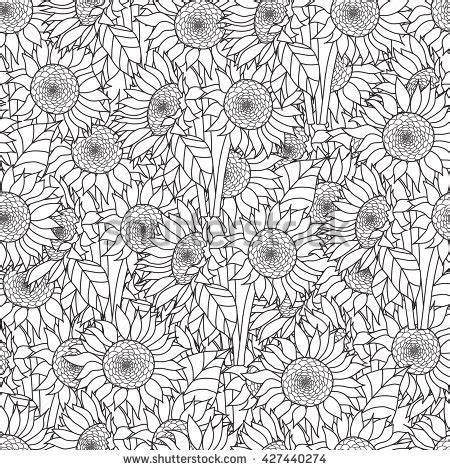 abstract sunflower coloring page seamless sunflowers bouquet vector coloring book stock