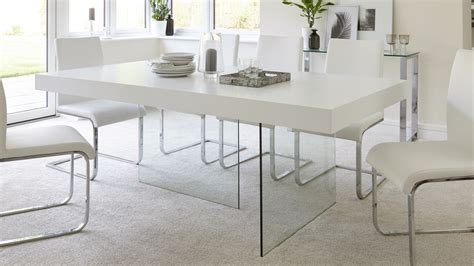 glass and white dining tables modern white oak dining table glass legs seats 6 8