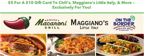 Chilis On The Border Gift Card - 50 off gift card to chili s maggiano s little italy or on the border restaurant
