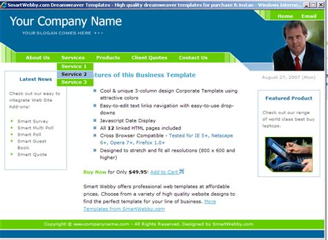 cool dreamweaver templates cool corporate template
