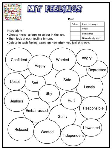 my feelings worksheet emotional literacy by lukeswillage