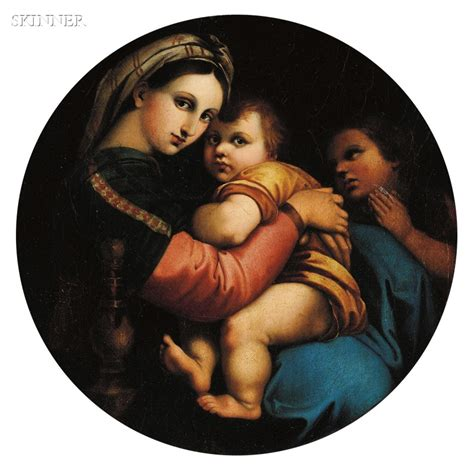 madonna della sedia german painted porcelain plaque after raphael s madonna