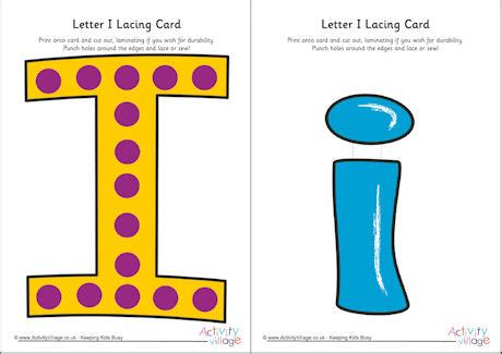 alphabet lacing cards templates letter i lacing card