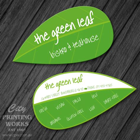leaf shaped business card template die cut business cards city printing works