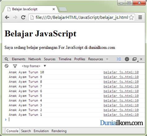 Cara Penulisan Pada Lop by Cara Penulisan Struktur Perulangan For Dalam Javascript