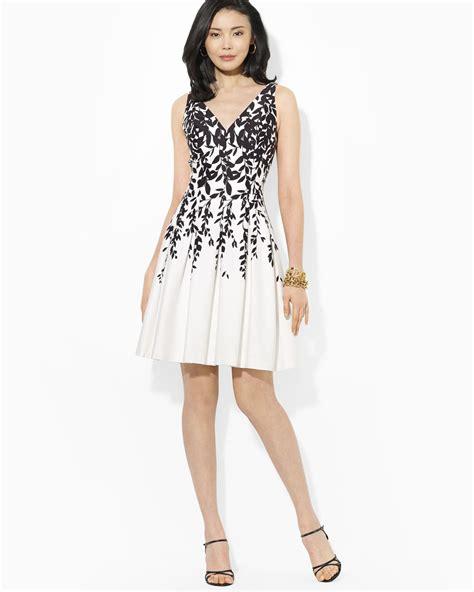 Yuana Flowery Flare Mini Dress lyst ralph dress sleeveless floral print