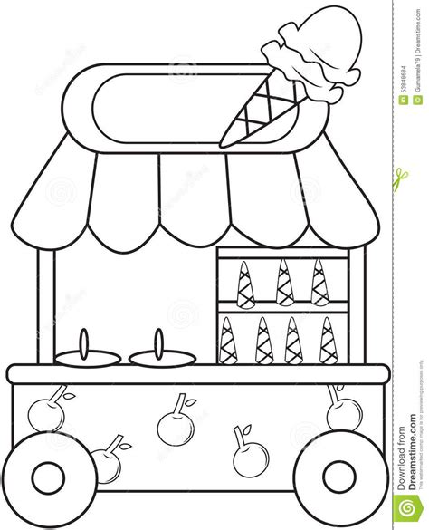 Ice Cream Store Coloring Page | ice cream parlor coloring pages download and print for free