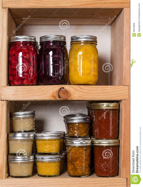 Canned Fruit Shelf by Storage Shelves With Canned Food Royalty Free Stock Photos