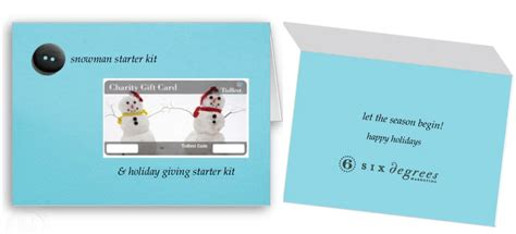 Gift Card Donation - 6 degrees donation holiday gift card