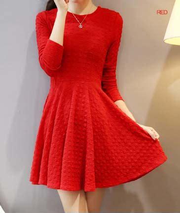 Dress Simple Wanita Lengan Panjang dress natal lengan panjang simple korea toko baju wanita