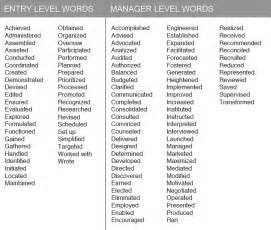 Words To Use In Cover Letter by Resume Exles Verbs For Resumes Exles Words In Words For