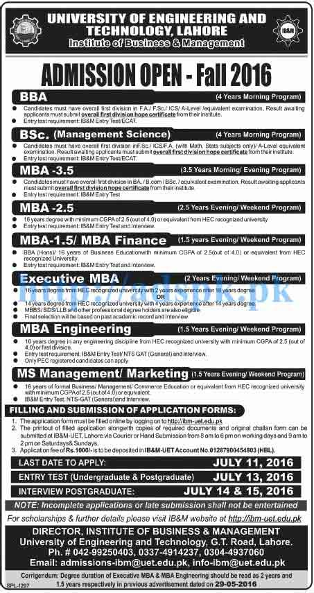 Pu Mba Entrance Test 2016 by Uet Lahore New Admissions 2016 For Institute Of Business