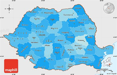 political map of romania political shades simple map of romania single color outside