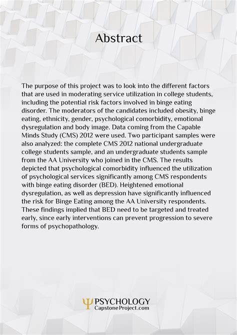 psychological thesis with abstract superior psychology project exles psychology capstone