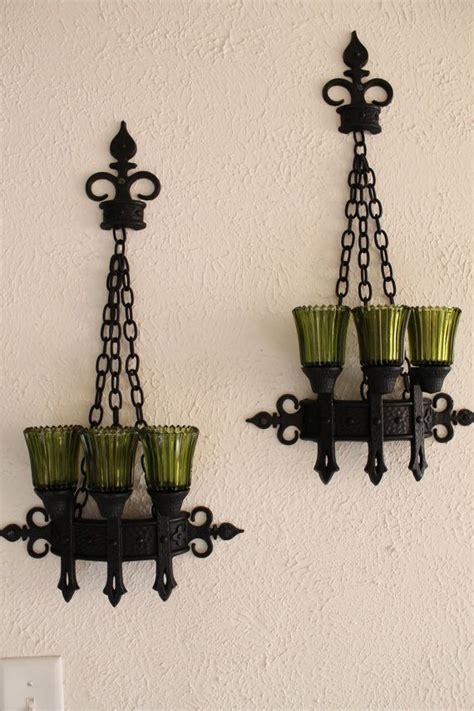 gothic home decorations candle holder vintage set glass pillar wall victorian