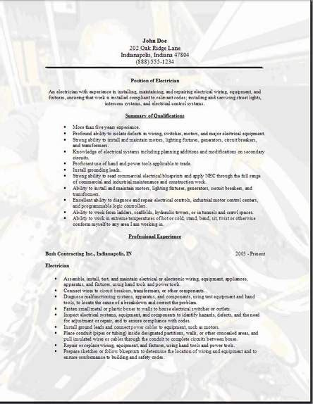 electrician resume templates for school