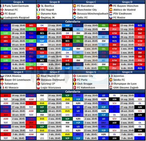 Calendario De Juegos Calendario De Juegos De La Chions League 2016 17