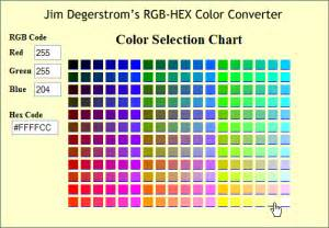 color hex to rgb shareware ii