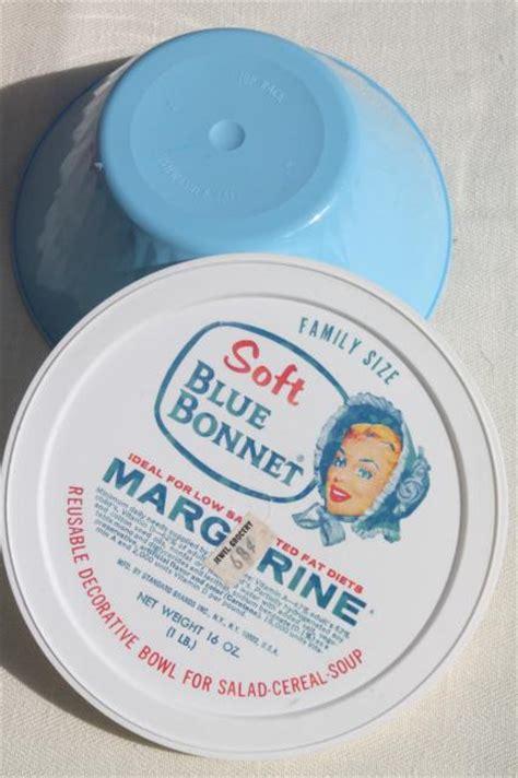 vintage plastic margarine tubs bowls  bright primary