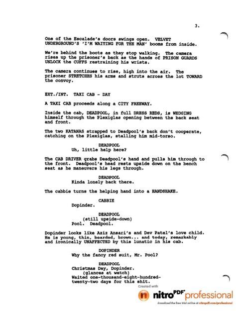 film one fine day screenplay deadpool movie leaked script 1