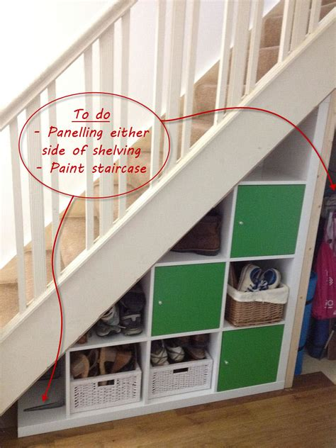 under the stairs storage ikea expedit hack under stairs storage barnacle s choice