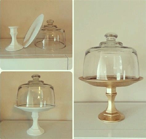 diy cake stand from a glass plate and glass handle holder
