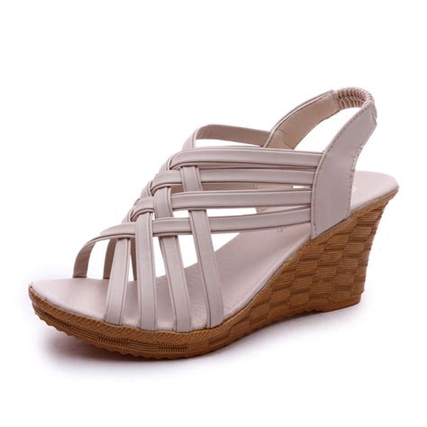 Sendal Wedges Pnc 1 fashion sandals leather peep toe wedges sandals ankle casual high heels