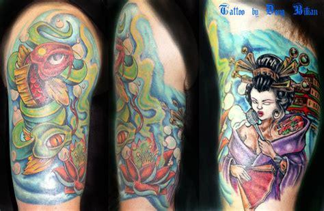 new skool rose tattoo new skool koi and geshia by douglas billian tattoonow