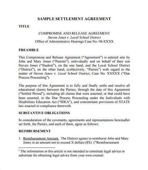 Letter Of Agreement Process Settlement Agreement Template 10 Documents In Pdf Sle Templates