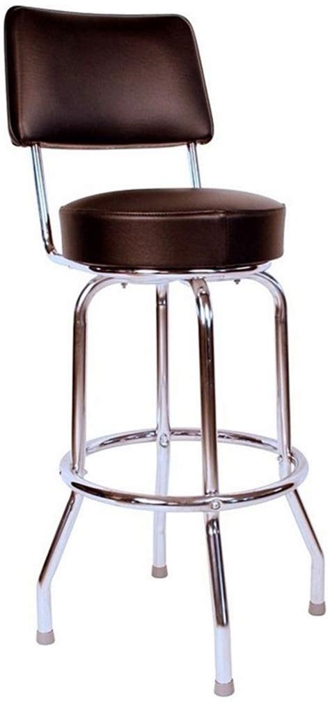 Padded Stool With Backrest by Retro Style Chrome Frame 24 H Swivel Bar Stool With