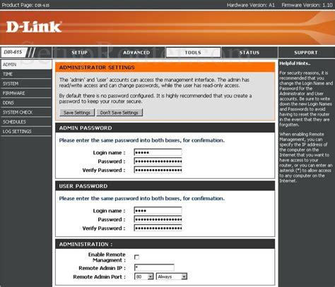 Dlink DIR-615 Screenshot Admin Settings D'link Router Password