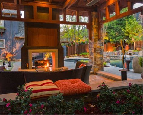 sided outdoor fireplace houzz