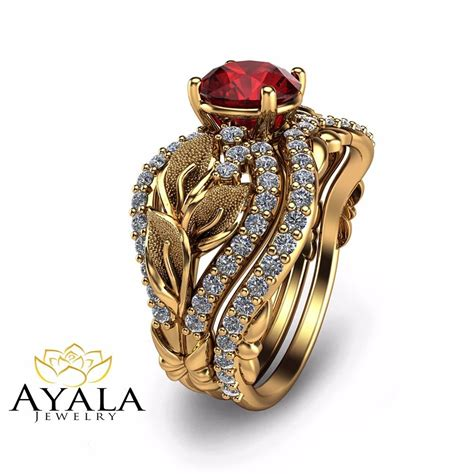 unique bridal set 14k yellow gold ruby engagement ring ebay