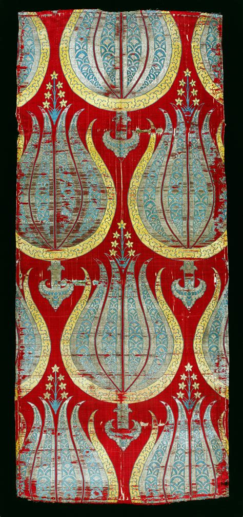 art of turkish textiles las woven textile with tulips silk and silver lamella