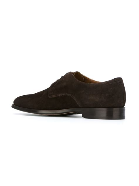 brown derby shoes doucal s suede derby shoes in brown for lyst