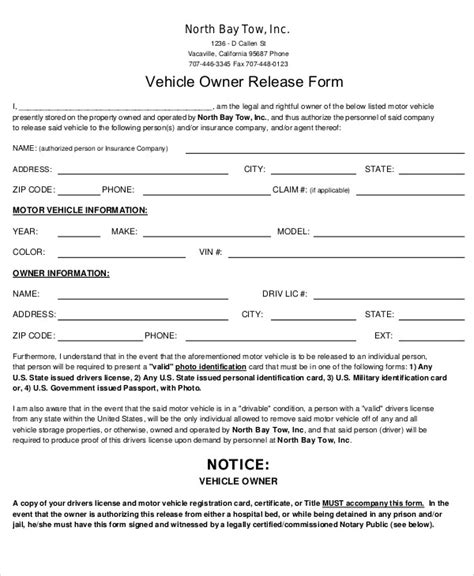 sample vehicle release form  examples  word