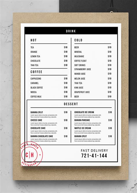 simple food menu template psd