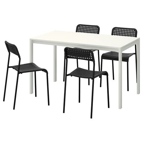melltorp adde table and 4 chairs white black 125 cm ikea