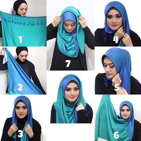 tutorial pashmina cashmire double toned pashmina hijab tutorial on we heart it