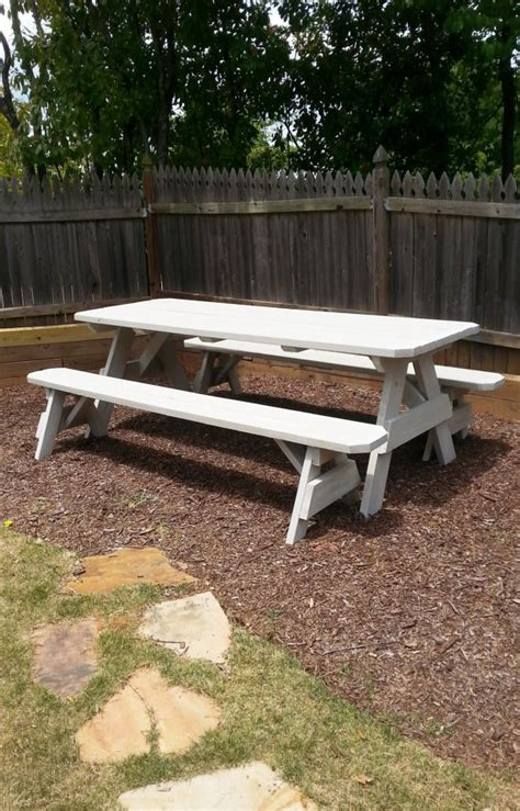 picnic tables with detached benches 8ft picnic table with detached bench seating and a distressed