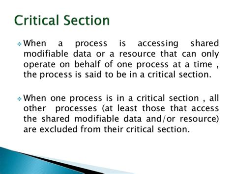 define critical section operating system critical section