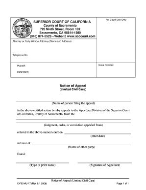 California Court Of Appeal Search Notice Of Appeal Fillable California Fill Printable Fillable Blank Pdffiller