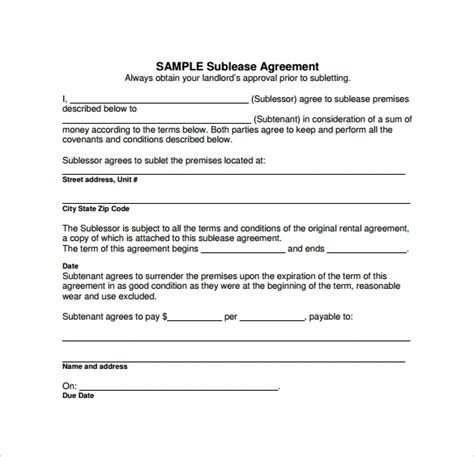 Sublease Agreement 18 Download Free Documents In Pdf Word Sublease Contract Template