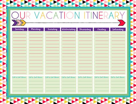 printable vacation planners free printable daily and weekly vacation calendars