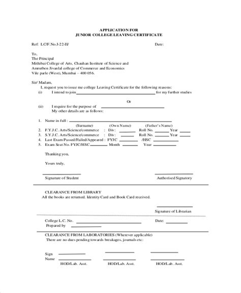 College Application Letter For Leaving Certificate sle college application letter 6 documents in pdf word