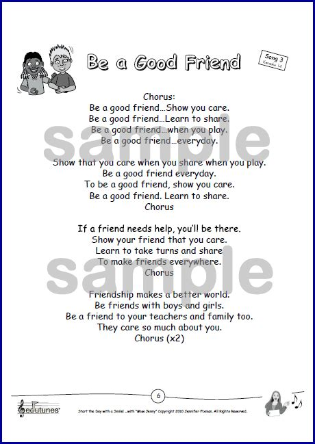song for a friend be a friend song for teaching about friendship